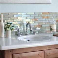 Fantastic tiles for bath or kitchen! Mother of pearl backsplash