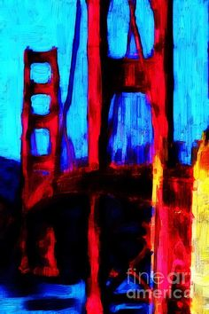 abstract painting of golden gate bridge | Found on fineartamerica.com