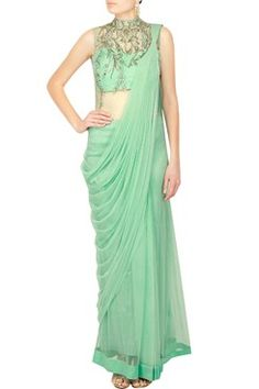 143216b190f Aqua zardozi embroidered saree gown