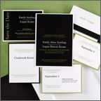 "Bar & Bat Mitzvah    Formal Bar Mitzvah  Bar mitzvah invitations have never been more stylish! The ebony and moss color combination exudes confidence and sophistication.  5 1/8"" x 7 1/4"""