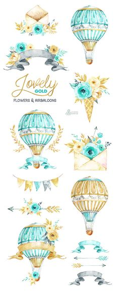 Lovely Flowers Gold. Airbaloons and more. Watercolor Clipart