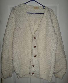 Women's Vintage HAND MADE by BERNICE LEMON Cardigan Button Knit Sweater, Size XL #HANDMADEbyBERNICELEMON #ButtonUpKnittedCardiganVintageSweater