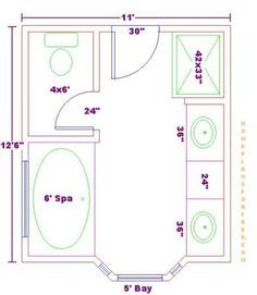 Standard 9ft x 7ft master bathroom floor plan with bath for 6ft bathroom ideas