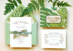 DIY Tutorial: Vintage Fern Wedding Invitations via Antiquaria