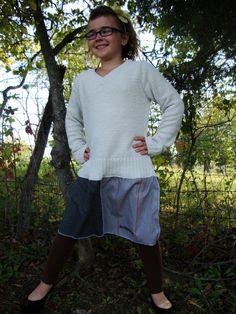Girls Sweater Tunic Dress/ Ecru and Gray by RebirthRecycling, $33.00