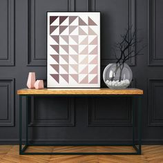 Set of 3 Abstract Geometric Prints Burgundy and Pink Tones