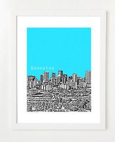 Edmonton+Skyline+Poster+++8x10+City+Skyline+Art+by+BugsyAndSprite,+$20.00