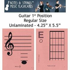 """Notes & Strings Guitar 1st Position 4.25""""X5.5"""" Regular Size Flashcards by Notes & Strings. $12.98. The mission of Notes & Strings is excellence in providing quality music education products to music students around the world. Notes & Strings Music Flashcards are very popular with music teachers, music students, and music stores. These flashcards help make the learning of music easy and fun. Deborah Spiegel, a Suzuki violin teacher, designed these note reading and fing..."""