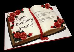 I think a bible cake, what do you think? 16th Birthday Cake For Girls, Grandma Birthday Cakes, Open Book Cakes, Zoe Cake, Christian Cakes, Bible Cake, Bithday Cake, 50th Cake, Birthday Blessings