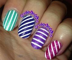 Candy colored glitter striped nails