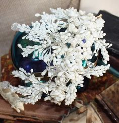 Antique French Wax & Glass Floral Wedding Crown