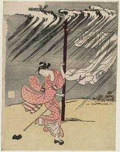 Suzuki Harunobu: A Young Woman in a Summer Shower - Museum of Fine Arts