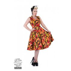 The Hearts and Roses London 'Sangria' Dress, in-store and online at #somethingdordoris   Sizes listed are UK Sizes, please refer to size chart in product gallery.  #rockabilly #rocknroll #pinup #pinupstyle