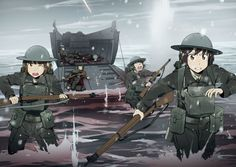 Comm - Get To The Beach by Xinom on DeviantArt Fanarts Anime, Anime Manga, Anime Art, Anime Military, Military Girl, Guerra Anime, Military Drawings, Female Dragon, Female Soldier