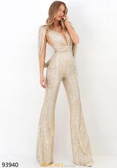 Tarik Ediz - 93940 V-Neck Sparkly Jumpsuit – Couture Candy Prom Jumpsuit, Sparkly Jumpsuit, Formal Jumpsuit, Wedding Jumpsuit, Sequin Jumpsuit, Elegant Jumpsuit, Designer Jumpsuits, Designer Dresses, Prom Outfits