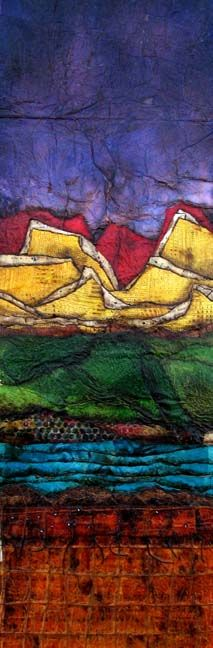 artist Laura Lein-Svencer abstract collage landscape.  She uses the Jonathan Talbot method of collage (using an iron)
