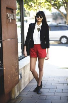 Vintage blazer, A.P.C. shorts, white Equipment top, Rachel Comey boots, and Aerie necklace.