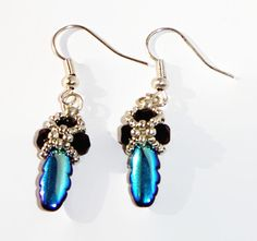 Peacock Blue Earrings, Beaded Earrings, Blue Earrings, Unique Earrings, Elegant Earrings, Unique Jewelry for You - pinned by pin4etsy.com
