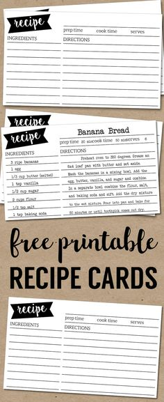 Customize and print these recipe cards for holiday recipes, bake sales, or just share your favorite recipe with friends Recipe Book Templates, Cookbook Template, Card Templates Printable, Printable Recipe Cards, Diy Recipe Book, Cookbook Ideas, Printable Paper, Recipe Printables, Recipe Books