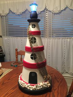 Clay pot lighthouse. Indoor/outdoor. Custom size and colors.