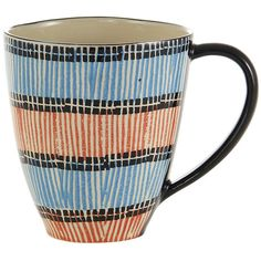 Da Terra Tribal - Mugs Set of 4 (€95) ❤ liked on Polyvore featuring home, kitchen & dining, drinkware, blue, striped mug, blue mug, blue drinkware, set of 4 mugs and handmade mugs