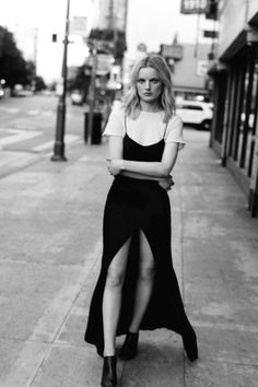 Black and White Layers | Slip Dress | Basic White T-shirt | Minimal | Editorial | HarperandHarley