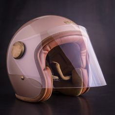 Revival Cycles' specializes in handbuilt motorcycles and consciously curated motorcycle gear & accessories for those enamored with motorcycles. Pink Motorcycle Helmet, Scooter Helmet, Womens Motorcycle Helmets, Cafe Racer Helmet, Moped Scooter, Motorcycle Girls, Moped Motor, Vintage Moped, Vintage Helmet
