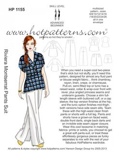 HotPatterns.com - HP 1155 Riviera Montserrat Pants Suit, $14.35 (http://www.hotpatterns.com/hp-1155-riviera-montserrat-pants-suit/)