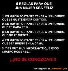 Las 5 reglas para que una mujer sea feliz.