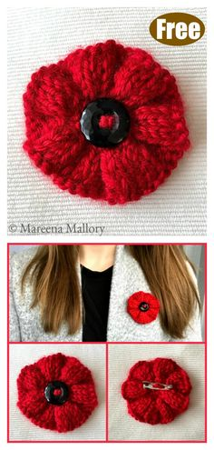 Ribbed Poppy Brooch Free Knitting Pattern Adding a brooch is a great way to spruce up your wardrobe. The Ribbed Poppy Brooch Free Knitting Pattern is easy and fast to make, one size fits all. Knitted Poppy Free Pattern, Knitted Flowers Free, Knitted Poppies, Knitted Flower Pattern, Knit Flowers, Poppy Flowers, Crochet Flower, Knitting Stiches, Knitting Blogs