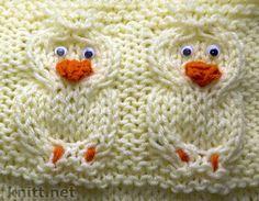 вязание спицами, knitting pattern,  связать утенка, вязаные модели, образцы, узор утёнок, ducks pattern,