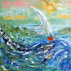 Original Oil Painting High Seas Sailing modern palette knife impressionism oil on canvas fine art by Karen Tarlton on Etsy, $135.00