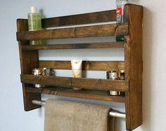 Bathroom Shelf with Towel Bar / Rustic Shelf by TheSteelAesthetic