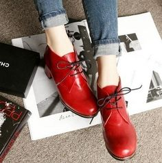 love the red Womens Chunky Round Toe Lace Up Cuban Heels Platform Oxford  Vintage Shoe Booties