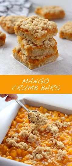 Mango Crumb Bars - Fresh, sweet, juicy mangoes sandwiched between two layers of crumbly, buttery pastry. These Mango Crumb Bars are super easy to make, and are the perfect dessert and snack! Mango Desserts, Köstliche Desserts, Delicious Desserts, Baking Recipes, Cookie Recipes, Juice Recipes, Salad Recipes, Detox Recipes, Dessert Bars