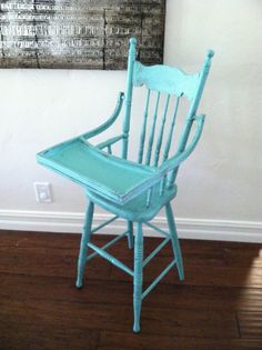 This item is sold but we can make one similar for you. Please convo us for details. Painted high chair in turquoise and distressed. Great for