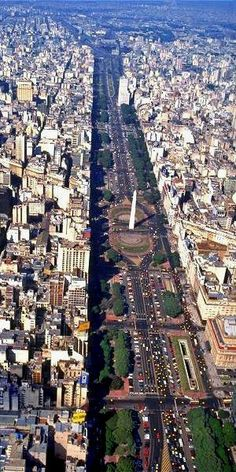 Aerial view of Avenida 9 de Julio.  The widest avenue in the world.  Buenos Aires, ARGENTINA