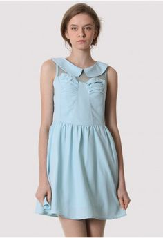 Peter Pan Collar High Waist Dress in Blue