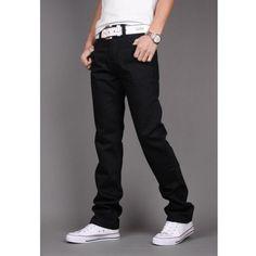 New Korean Slim Men Stright Fashion Long Contracted design Jeans... ($39) via Polyvore