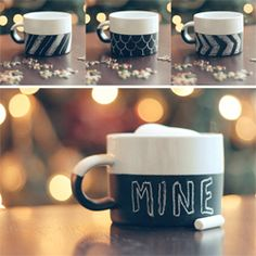 DIY Chalkboard Mug  via Wit & Whistle