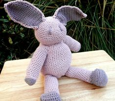 Large Easter Bunny Rabbit Blush Pink and by olivesuniquecrochet
