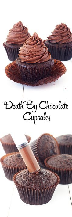 Easy Chocolate Cupcakes filled with chocolate ganache from Sweetest Menu - Birthday Cupcake Ideen Death By Chocolate Cupcake Recipe, Chocolate Cupcakes Filled, Dark Chocolate Cakes, Chocolate Ganache, Chocolate Buttercream, Chocolate Sprinkles, Buttercream Frosting, Filled Cupcakes, Chocolate Smoothies