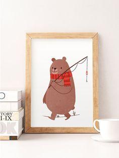 Cute bear illustration, Whimsical animal art, Nursery wall art, Kids room art…
