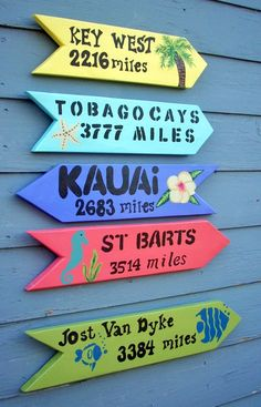 I want a set of these attached to a post for the porch/ deck and have the signs be places we have been or want to go. So cute!