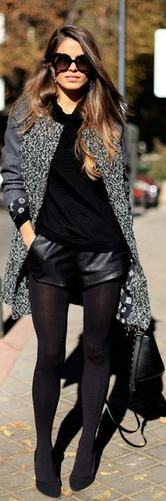 Top+10+Totally+Trendy+Ways+to+Wear+Leather+Shorts+and+Skirts+in+Autumn