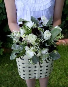 Black and whit fern and sweet bouquet by Sarah Winward