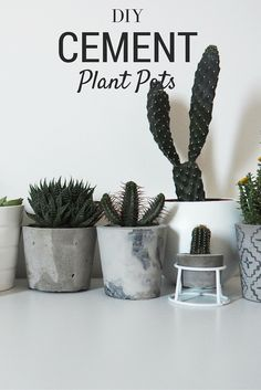 DIY Marbled Cement Plant Pots