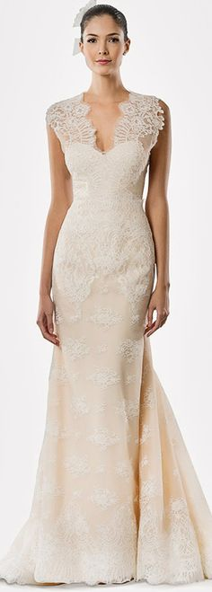 carolina herrera #bridal fall 2015 daisy lace cap sleeve #wedding dress wedding dress