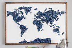 Reutilizar peças de puzzle - Mapa mundo / Upcycling puzzle pieces - World map