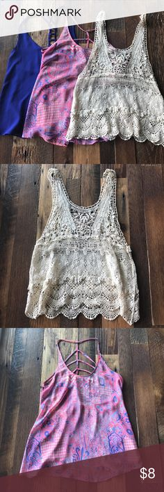 Tank top bundle! Great condition. Cute tops. Cream and blue tops are forever 21. The pink one is do & be. Forever 21 Tops Tank Tops